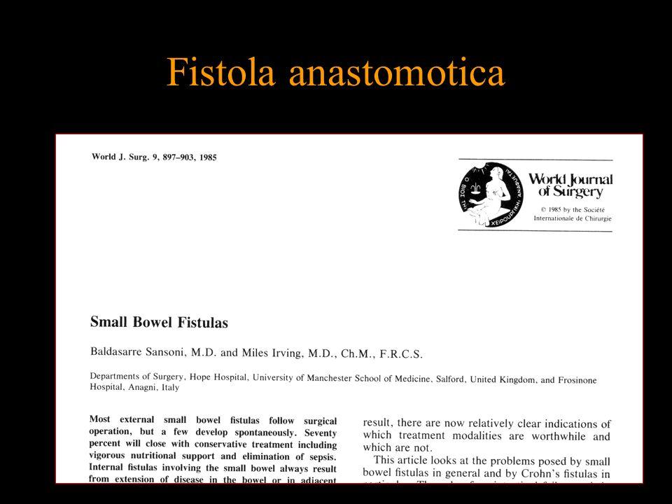 Fistola anastomotica METODICHE ALTERNATIVE LA LAPAROSCOPIA Ottimi risultati in diverse casistiche Joo JS – Surg Endosc 11:116,1997; Pera M – Surg Endosc 16:603,2002; Regan JP – Surg Endosc 18:252,2003;