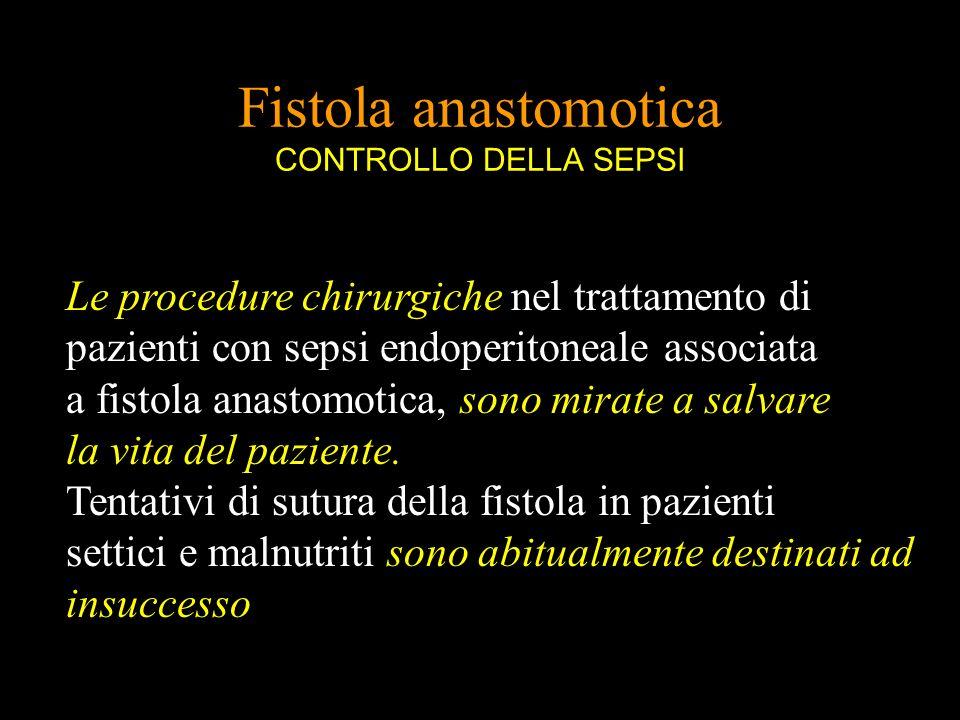 Fistola anastomotica CONTROLLO DELLA SEPSI Le procedure chirurgiche nel trattamento di pazienti con sepsi endoperitoneale associata a fistola anastomo