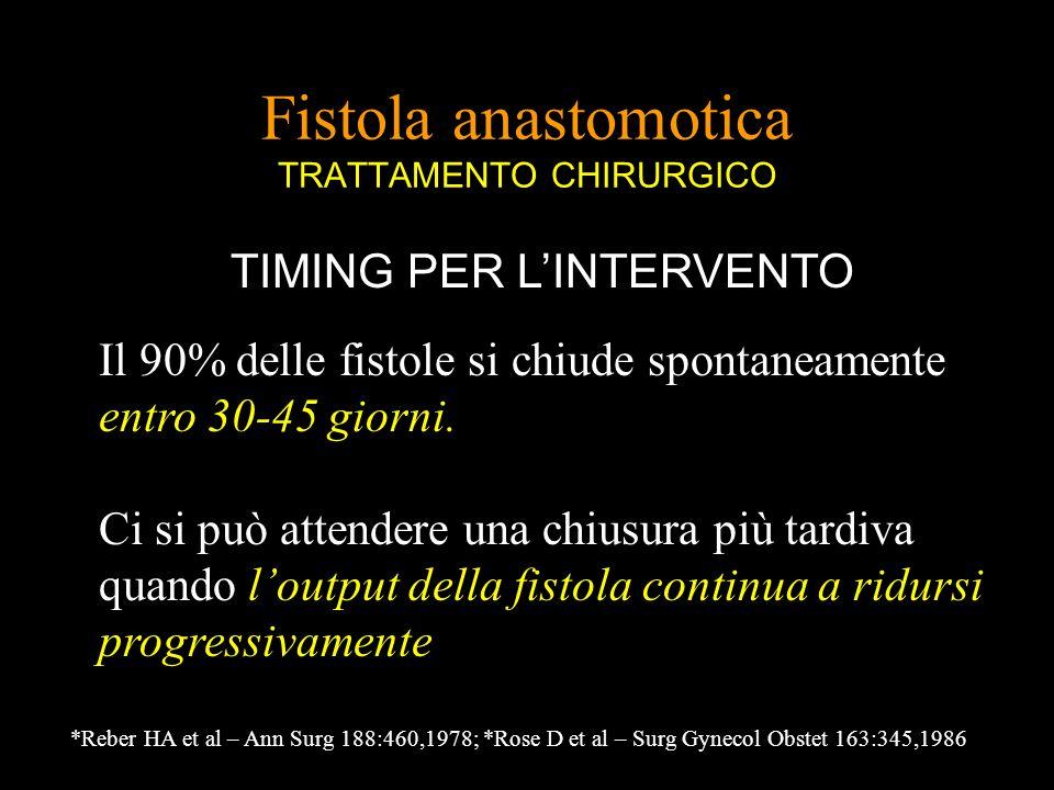 Fistola anastomotica TRATTAMENTO CHIRURGICO TIMING PER LINTERVENTO Il 90% delle fistole si chiude spontaneamente entro 30-45 giorni. Ci si può attende
