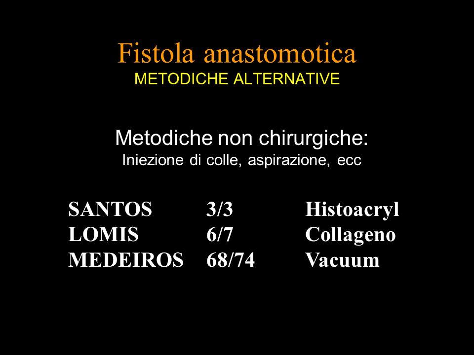 Fistola anastomotica METODICHE ALTERNATIVE Metodiche non chirurgiche: Iniezione di colle, aspirazione, ecc SANTOS 3/3 Histoacryl LOMIS6/7Collageno MED