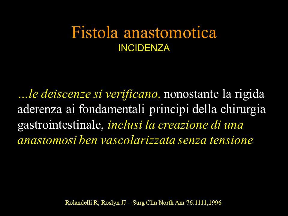 Fistola anastomotica INCIDENZA …le deiscenze si verificano, nonostante la rigida aderenza ai fondamentali principi della chirurgia gastrointestinale,