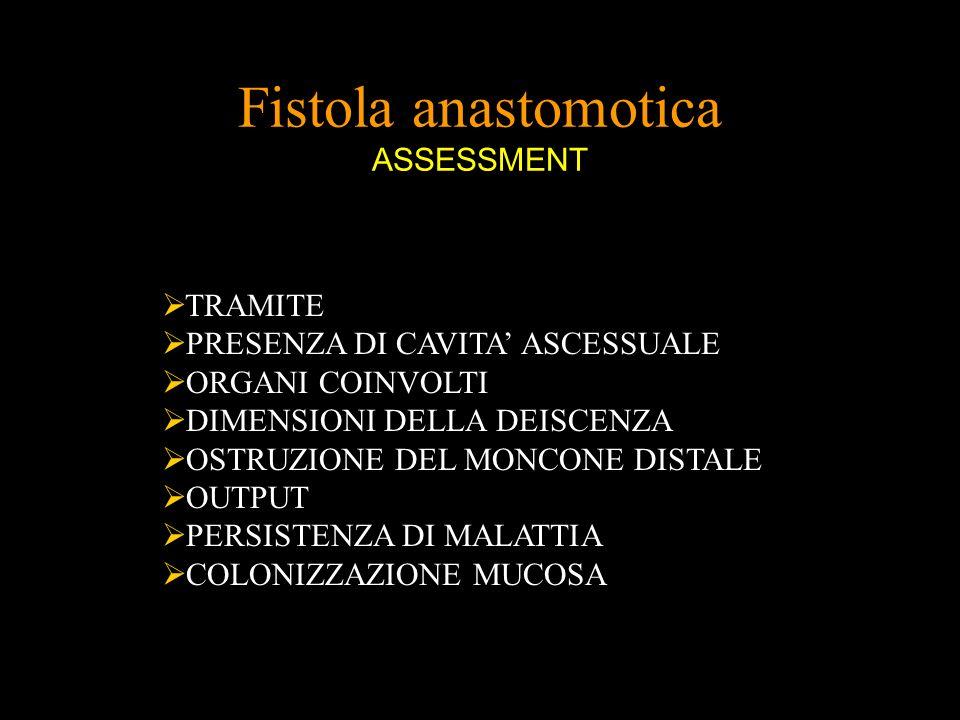 Fistola anastomotica ASSESSMENT TRAMITE PRESENZA DI CAVITA ASCESSUALE ORGANI COINVOLTI DIMENSIONI DELLA DEISCENZA OSTRUZIONE DEL MONCONE DISTALE OUTPU
