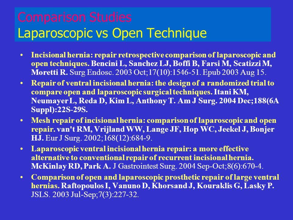 Comparison Studies Laparoscopic vs Open Technique Incisional hernia: repair retrospective comparison of laparoscopic and open techniques. Bencini L, S