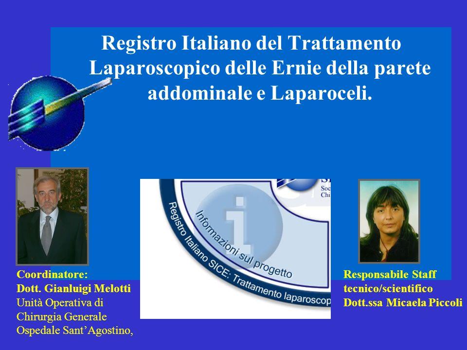Registro Italiano del Trattamento Laparoscopico delle Ernie della parete addominale e Laparoceli. Coordinatore: Dott. Gianluigi Melotti Unità Operativ