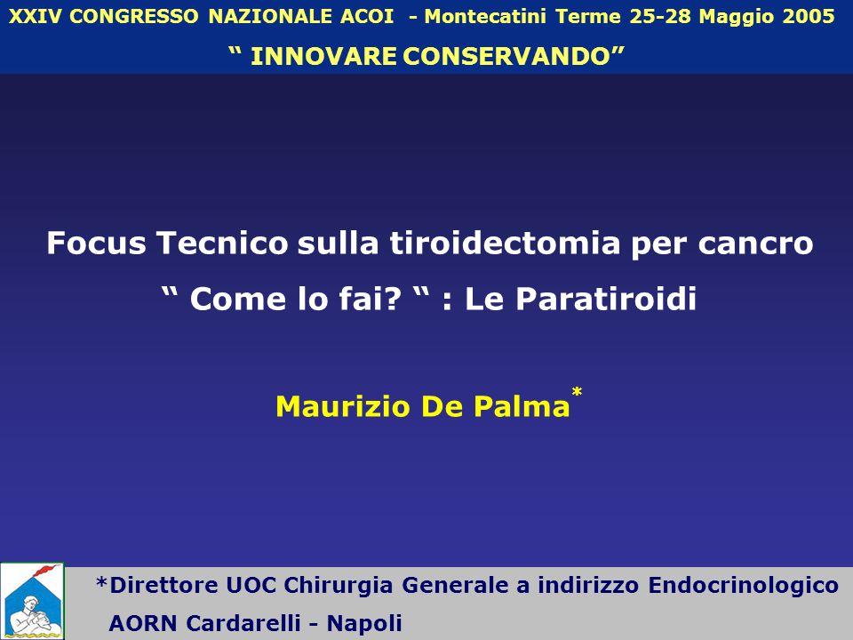 *Direttore UOC Chirurgia Generale a indirizzo Endocrinologico AORN Cardarelli - Napoli XXIV CONGRESSO NAZIONALE ACOI - Montecatini Terme 25-28 Maggio