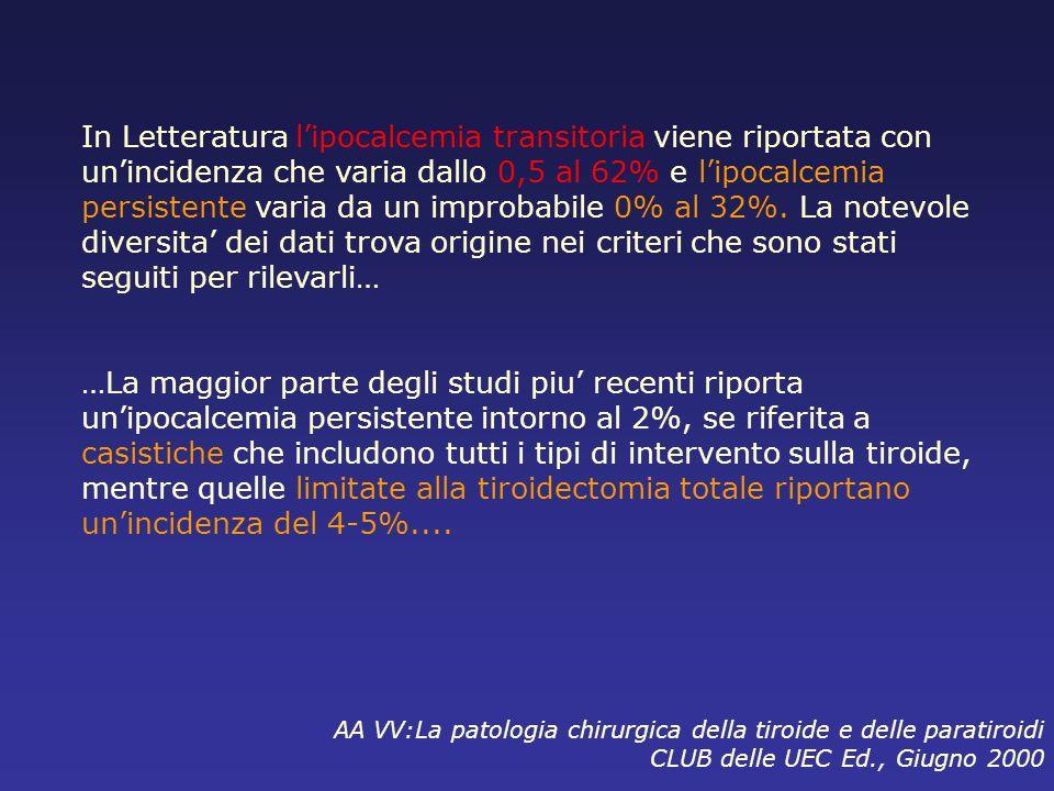 In uno studio multicentrico su 14934 casi raccolti in Italia in 5 anni : Lincidenza dellipocalcemia definitiva si riscontra nell1,7% dei casi di pazienti operati.