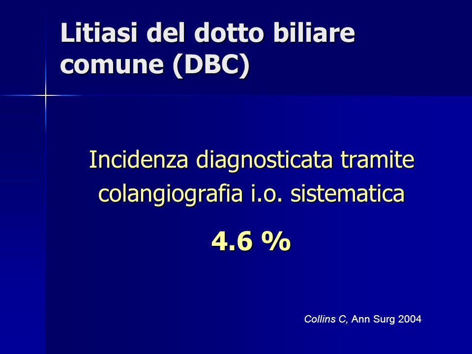 Litiasi del dotto biliare comune (DBC) Incidenza diagnosticata tramite colangiografia i.o. sistematica 4.6 % Collins C, Ann Surg 2004