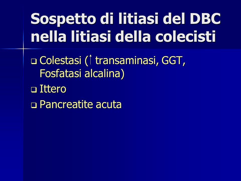 Sospetto di litiasi del DBC nella litiasi della colecisti Colestasi ( transaminasi, GGT, Fosfatasi alcalina) Colestasi ( transaminasi, GGT, Fosfatasi alcalina) Ittero Ittero Pancreatite acuta Pancreatite acuta