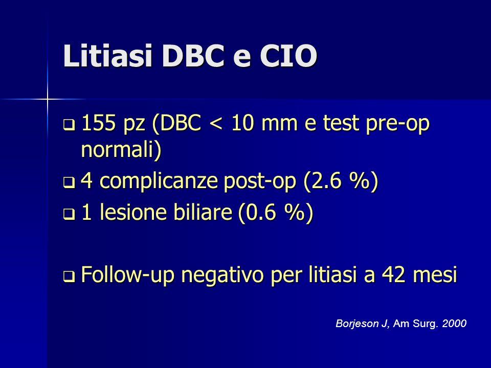 Litiasi DBC e CIO 155 pz (DBC < 10 mm e test pre-op normali) 155 pz (DBC < 10 mm e test pre-op normali) 4 complicanze post-op (2.6 %) 4 complicanze post-op (2.6 %) 1 lesione biliare (0.6 %) 1 lesione biliare (0.6 %) Follow-up negativo per litiasi a 42 mesi Follow-up negativo per litiasi a 42 mesi Borjeson J, Am Surg.
