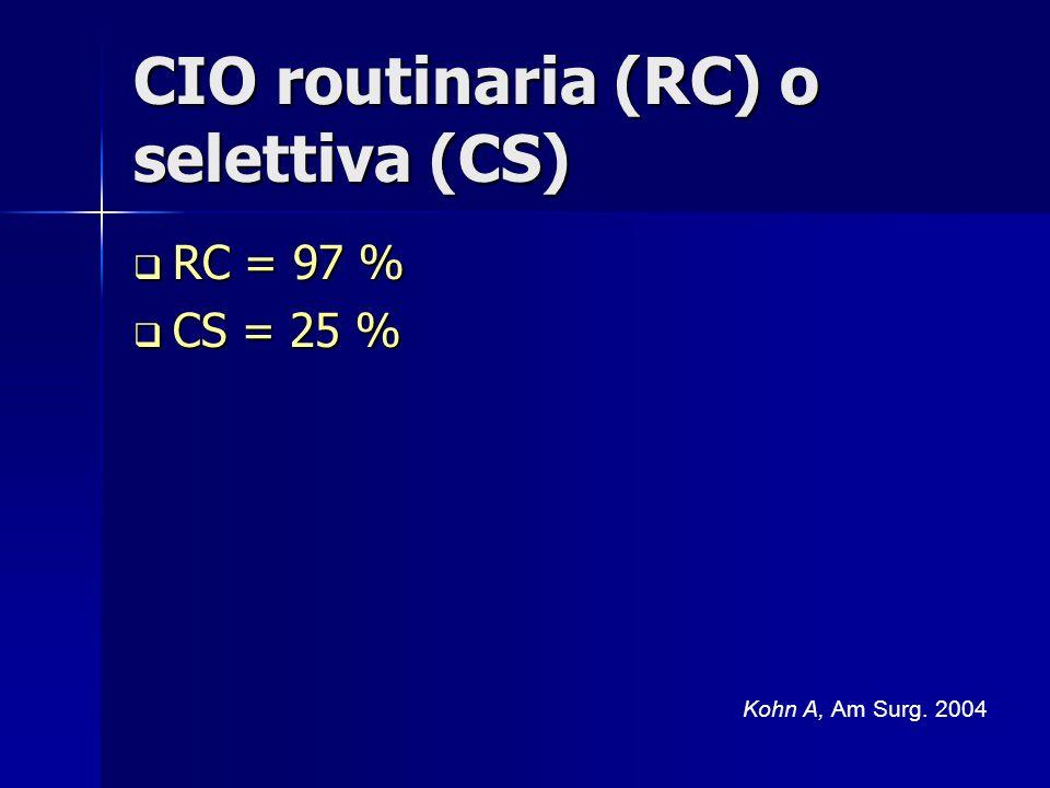 CIO routinaria (RC) o selettiva (CS) RC = 97 % RC = 97 % CS = 25 % CS = 25 % Kohn A, Am Surg. 2004