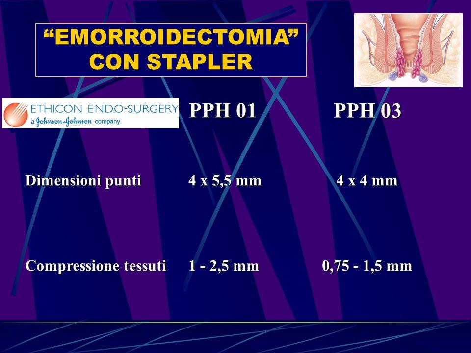 EMORROIDECTOMIA CON STAPLER PPH 01 PPH 03 Dimensioni punti Compressione tessuti 4 x 5,5 mm 4 x 4 mm 1 - 2,5 mm 0,75 - 1,5 mm