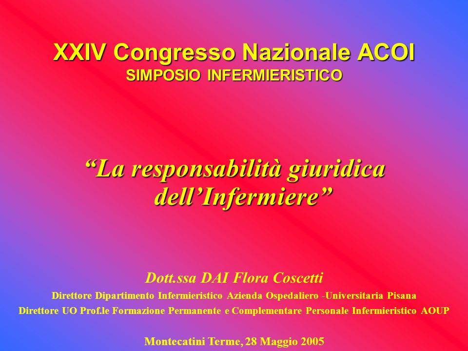 XXIV Congresso Nazionale ACOI SIMPOSIO INFERMIERISTICO La responsabilità giuridica dellInfermiere Dott.ssa DAI Flora Coscetti Direttore Dipartimento I