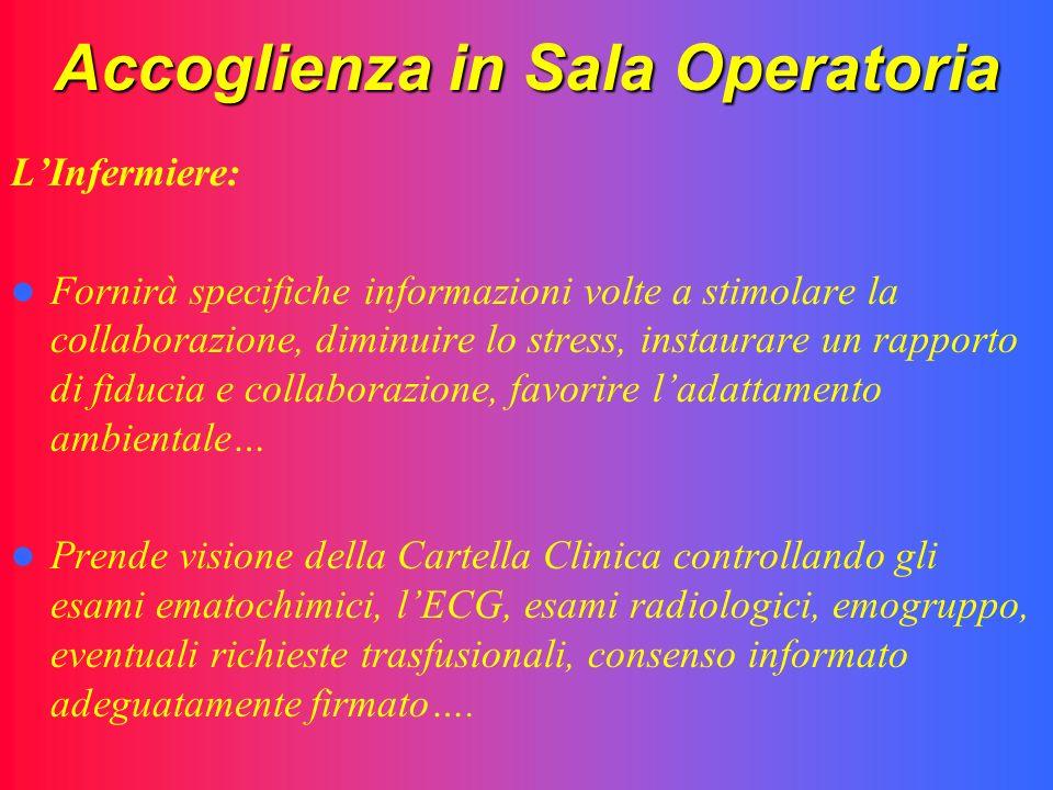 Accoglienza in Sala Operatoria LInfermiere: Fornirà specifiche informazioni volte a stimolare la collaborazione, diminuire lo stress, instaurare un ra