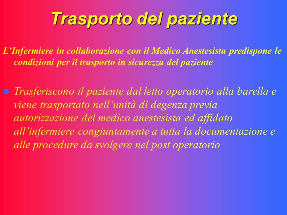 Trasporto del paziente LInfermiere in collaborazione con il Medico Anestesista predispone le condizioni per il trasporto in sicurezza del paziente Tra