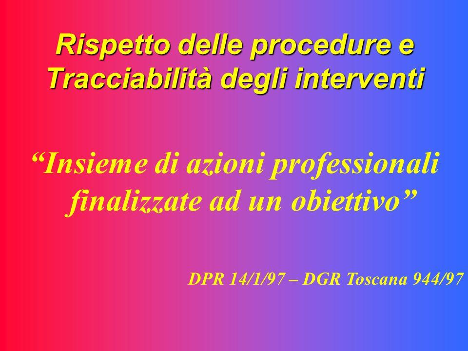 Rispetto delle procedure e Tracciabilità degli interventi Insieme di azioni professionali finalizzate ad un obiettivo DPR 14/1/97 – DGR Toscana 944/97