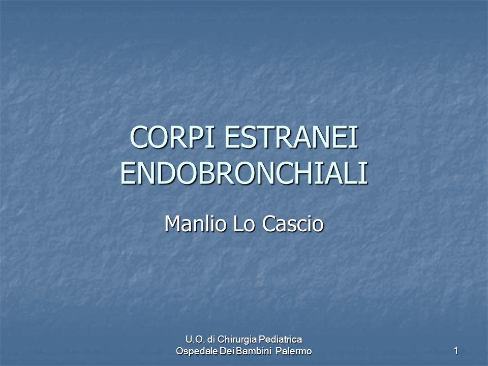 U.O. di Chirurgia Pediatrica Ospedale Dei Bambini Palermo 1 CORPI ESTRANEI ENDOBRONCHIALI Manlio Lo Cascio