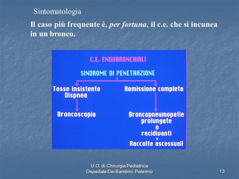 U.O. di Chirurgia Pediatrica Ospedale Dei Bambini Palermo13 Il caso più frequente è, per fortuna, il c.e. che si incunea in un bronco. Sintomatologia