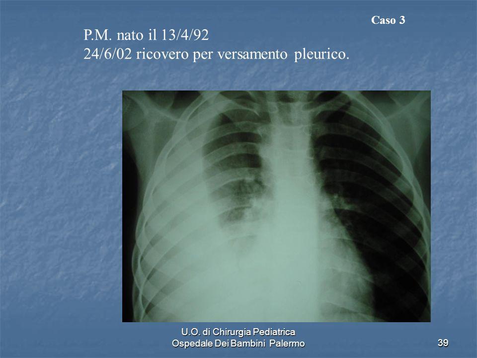 U.O. di Chirurgia Pediatrica Ospedale Dei Bambini Palermo39 P.M. nato il 13/4/92 24/6/02 ricovero per versamento pleurico. Caso 3