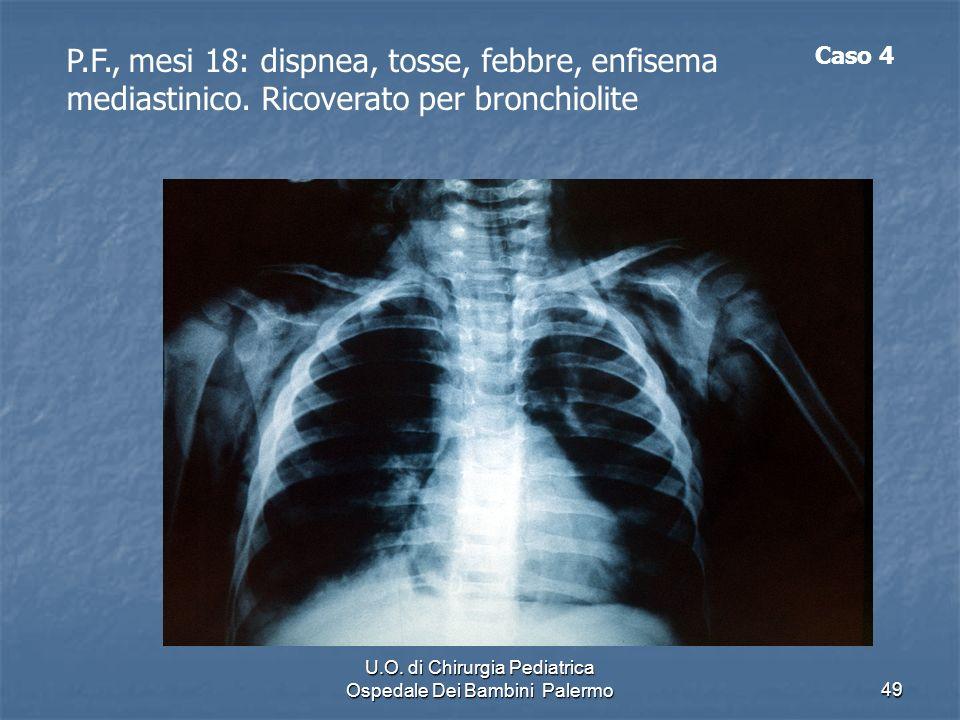 U.O. di Chirurgia Pediatrica Ospedale Dei Bambini Palermo49 P.F., mesi 18: dispnea, tosse, febbre, enfisema mediastinico. Ricoverato per bronchiolite