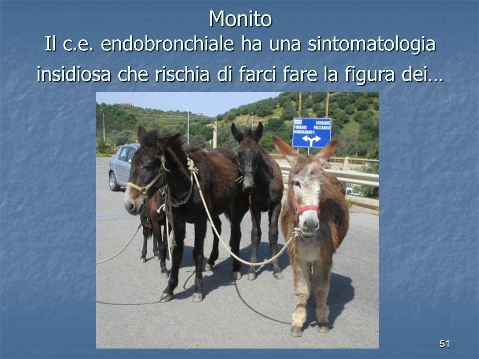 U.O. di Chirurgia Pediatrica Ospedale Dei Bambini Palermo51 Monito Il c.e. endobronchiale ha una sintomatologia insidiosa che rischia di farci fare la