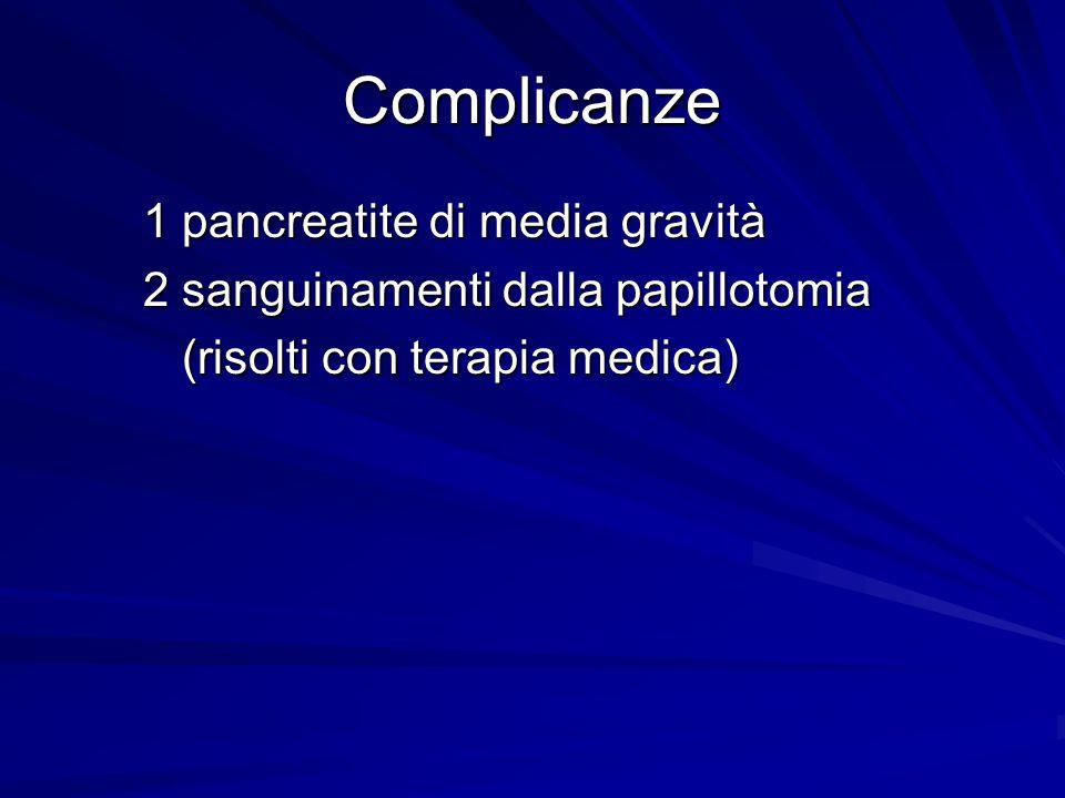 Complicanze 1 pancreatite di media gravità 1 pancreatite di media gravità 2 sanguinamenti dalla papillotomia 2 sanguinamenti dalla papillotomia (risol