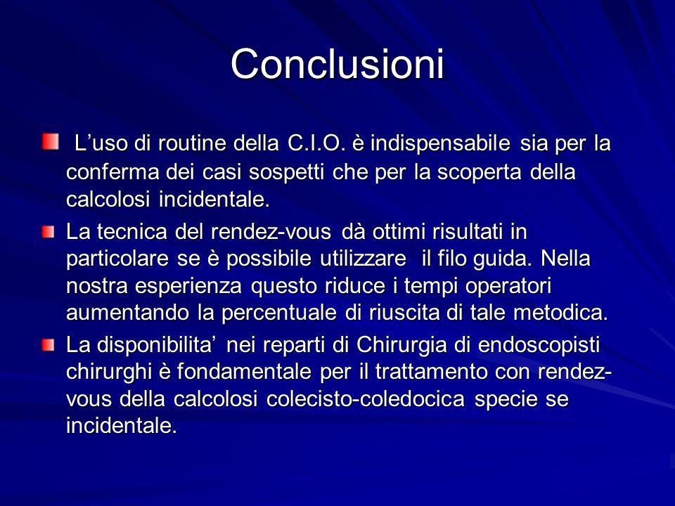 Conclusioni Luso di routine della C.I.O. è indispensabile sia per la conferma dei casi sospetti che per la scoperta della calcolosi incidentale. Luso