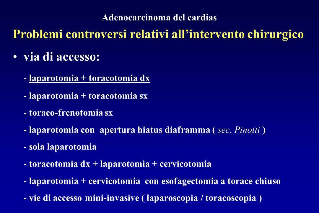 Adenocarcinoma del cardias Problemi controversi relativi allintervento chirurgico via di accesso: - laparotomia + toracotomia dx - laparotomia + torac