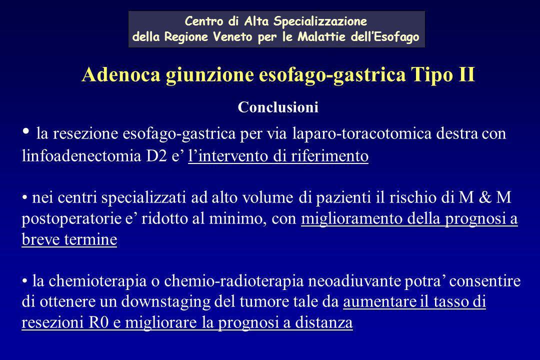 Adenoca giunzione esofago-gastrica Tipo II Conclusioni la resezione esofago-gastrica per via laparo-toracotomica destra con linfoadenectomia D2 e lint