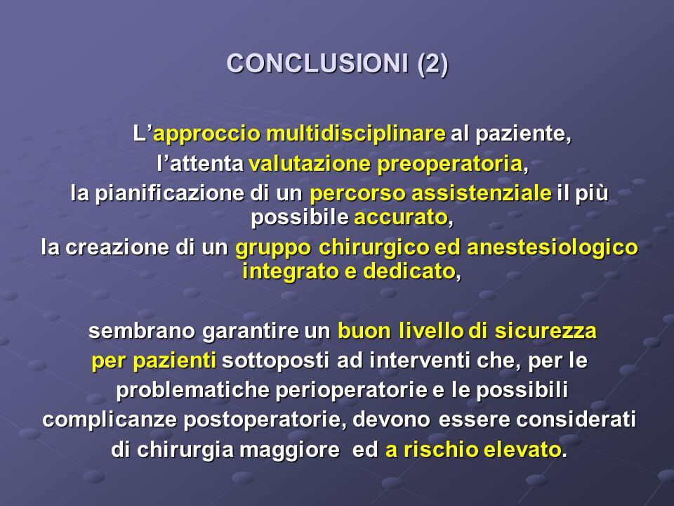 CONCLUSIONI (2) Lapproccio multidisciplinare al paziente, lattenta valutazione preoperatoria, lattenta valutazione preoperatoria, la pianificazione di