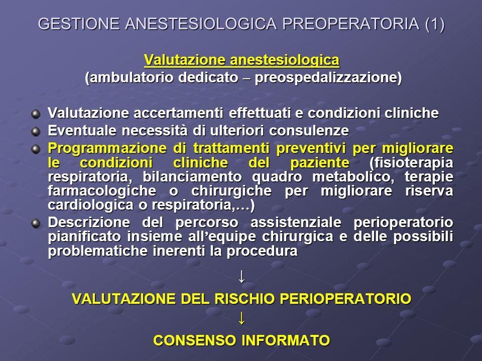 GESTIONE ANESTESIOLOGICA PREOPERATORIA (1) Valutazione anestesiologica (ambulatorio dedicato – preospedalizzazione) (ambulatorio dedicato – preospedal
