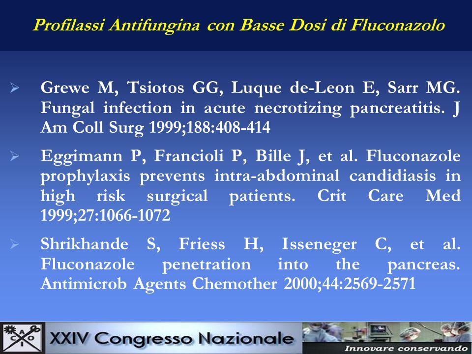 Profilassi Antifungina con Basse Dosi di Fluconazolo Grewe M, Tsiotos GG, Luque de-Leon E, Sarr MG. Fungal infection in acute necrotizing pancreatitis