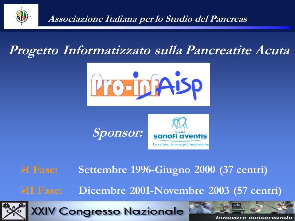 Associazione Italiana per lo Studio del Pancreas Progetto Informatizzato sulla Pancreatite Acuta I Fase: Settembre 1996-Giugno 2000 (37 centri) II Fas