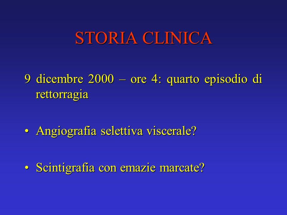 STORIA CLINICA 9 dicembre 2000 – ore 4: quarto episodio di rettorragia Angiografia selettiva viscerale?Angiografia selettiva viscerale? Scintigrafia c