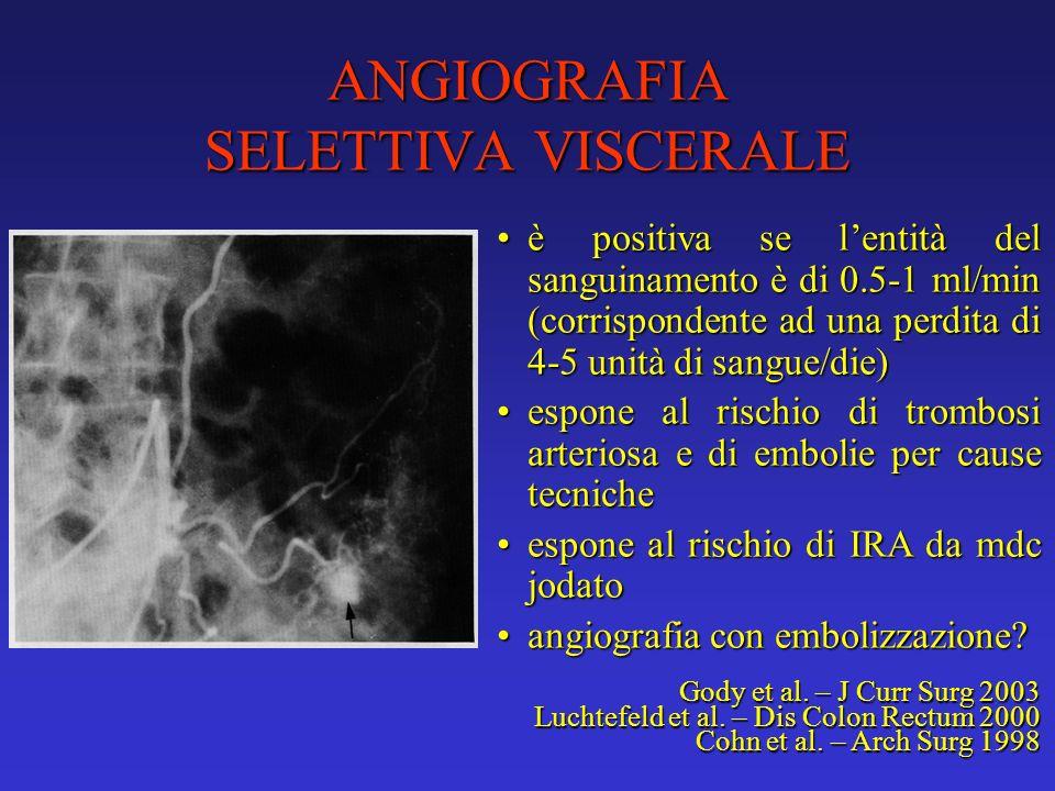 ANGIOGRAFIA SELETTIVA VISCERALE è positiva se lentità del sanguinamento è di 0.5-1 ml/min (corrispondente ad una perdita di 4-5 unità di sangue/die)è