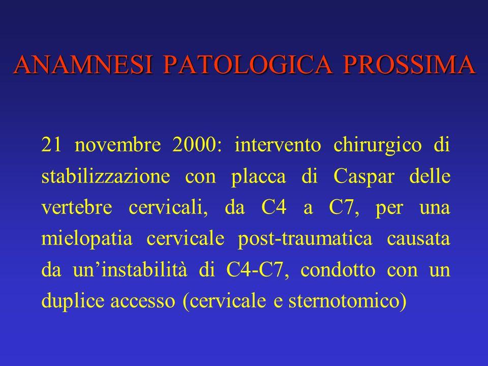 ANAMNESI PATOLOGICA PROSSIMA 21 novembre 2000: intervento chirurgico di stabilizzazione con placca di Caspar delle vertebre cervicali, da C4 a C7, per