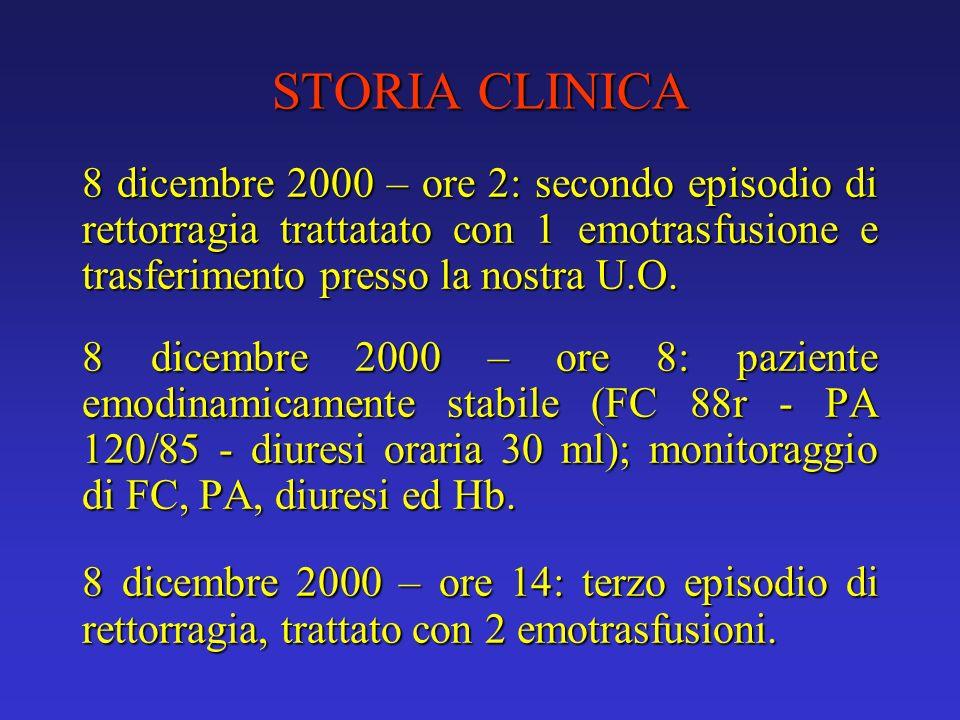 STORIA CLINICA 8 dicembre 2000 – ore 2: secondo episodio di rettorragia trattatato con 1 emotrasfusione e trasferimento presso la nostra U.O. 8 dicemb
