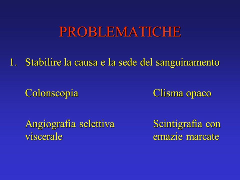 PROBLEMATICHE 1.Stabilire la causa e la sede del sanguinamento ColonscopiaClisma opaco Angiografia selettiva Scintigrafia con viscerale emazie marcate