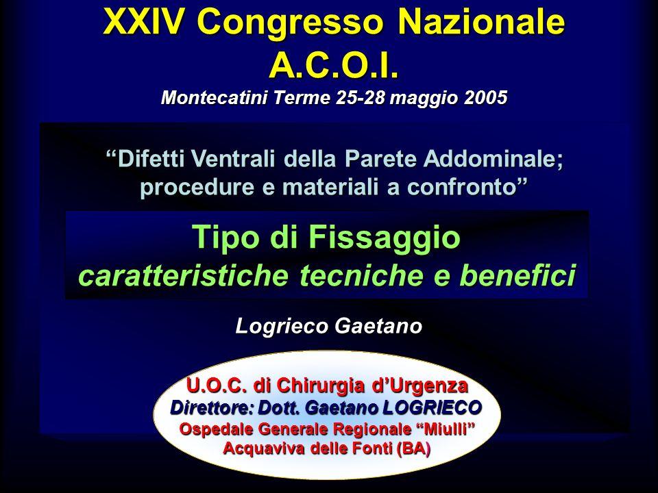 XXIV Congresso Nazionale A.C.O.I. Montecatini Terme 25-28 maggio 2005 Difetti Ventrali della Parete Addominale; procedure e materiali a confronto U.O.