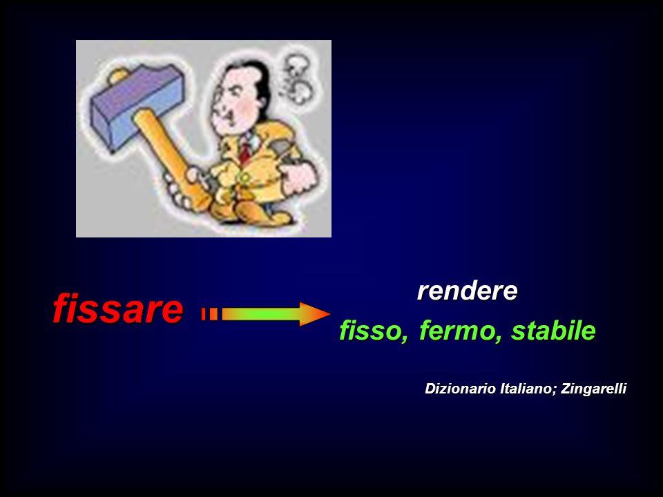 fissare rendere fisso, fermo, stabile Dizionario Italiano; Zingarelli