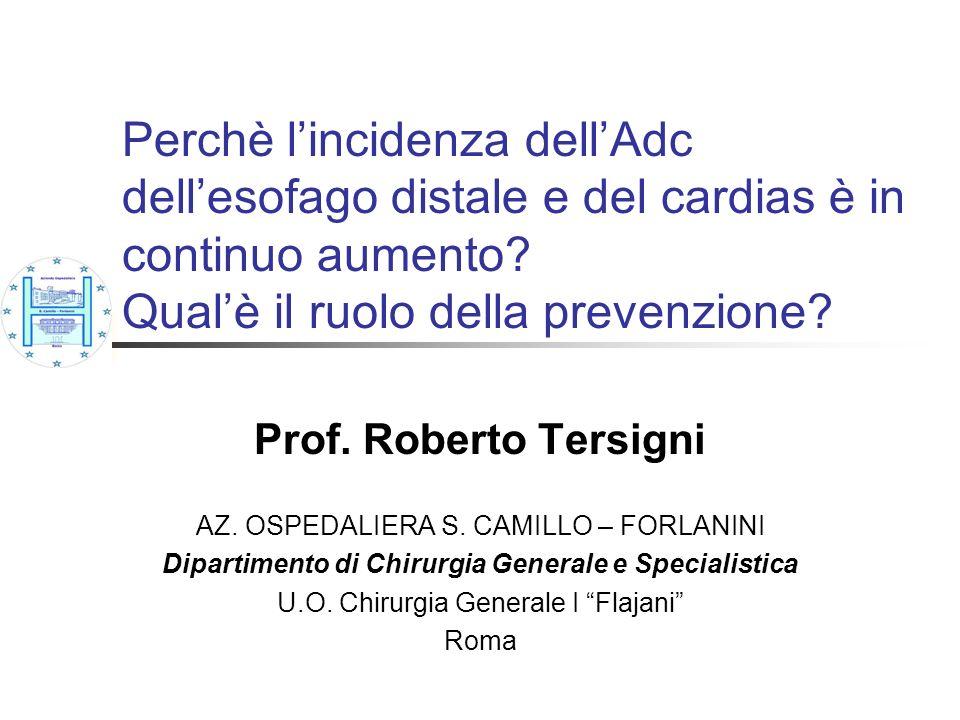 Perchè lincidenza dellAdc dellesofago distale e del cardias è in continuo aumento? Qualè il ruolo della prevenzione? Prof. Roberto Tersigni AZ. OSPEDA