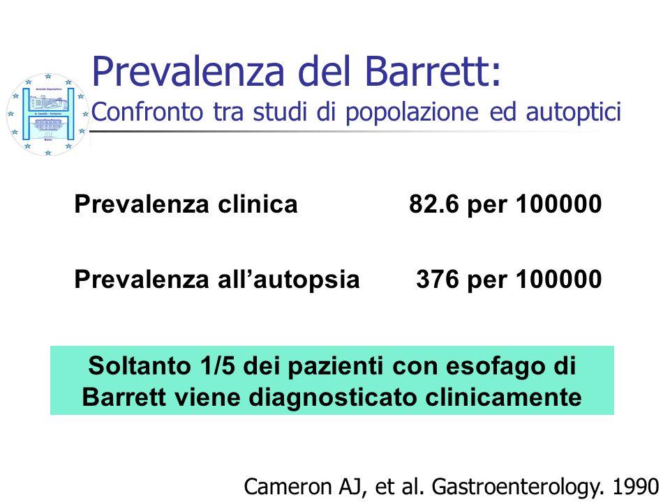 Prevalenza del Barrett: Confronto tra studi di popolazione ed autoptici Prevalenza clinica82.6 per 100000 Prevalenza allautopsia 376 per 100000 Camero