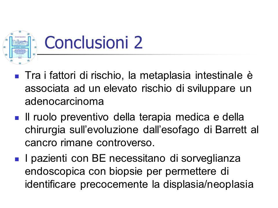 Conclusioni 2 Tra i fattori di rischio, la metaplasia intestinale è associata ad un elevato rischio di sviluppare un adenocarcinoma Il ruolo preventiv