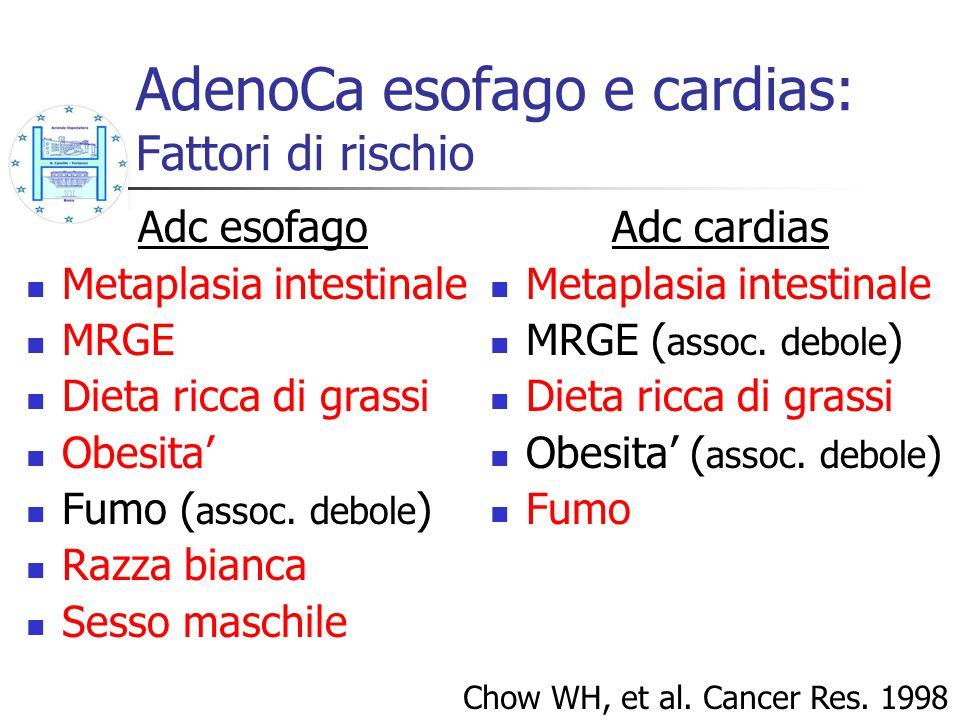 AdenoCa esofago e cardias: Fattori di rischio Chow WH, et al. Cancer Res. 1998 Adc esofago Metaplasia intestinale MRGE Dieta ricca di grassi Obesita F