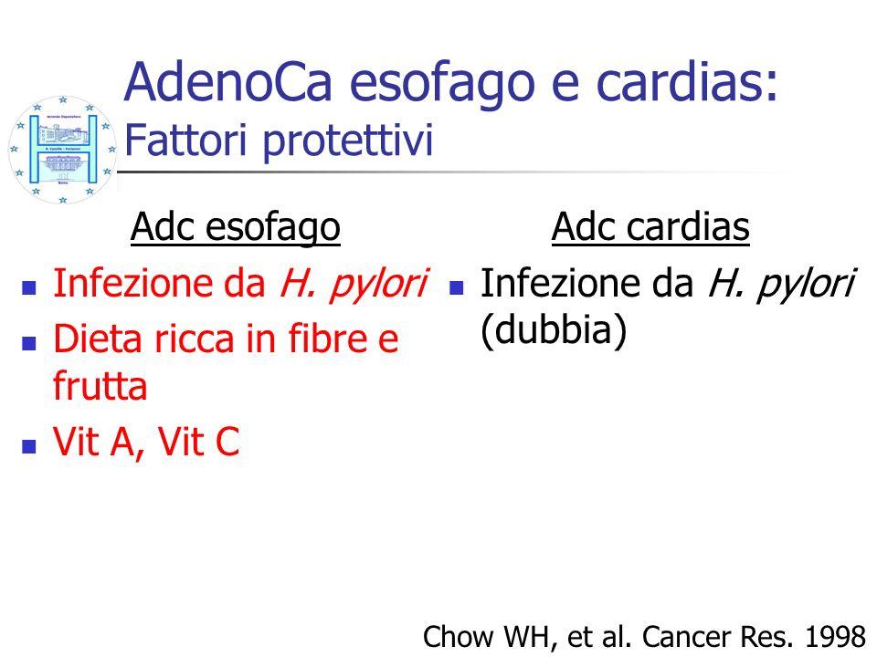 Adc cardias Infezione da H. pylori (dubbia) Chow WH, et al. Cancer Res. 1998 Adc esofago Infezione da H. pylori Dieta ricca in fibre e frutta Vit A, V