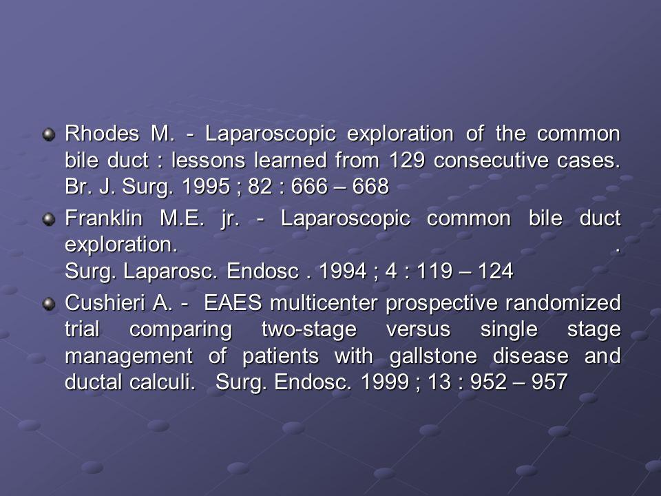 Complicanze dopo utilizzo del tubo di Kehr ( 3\107 casi – 2.8 % ) Rottura accidentale in corso di rimozione Dislocazione nella via biliare Leak biliare post-rimozione