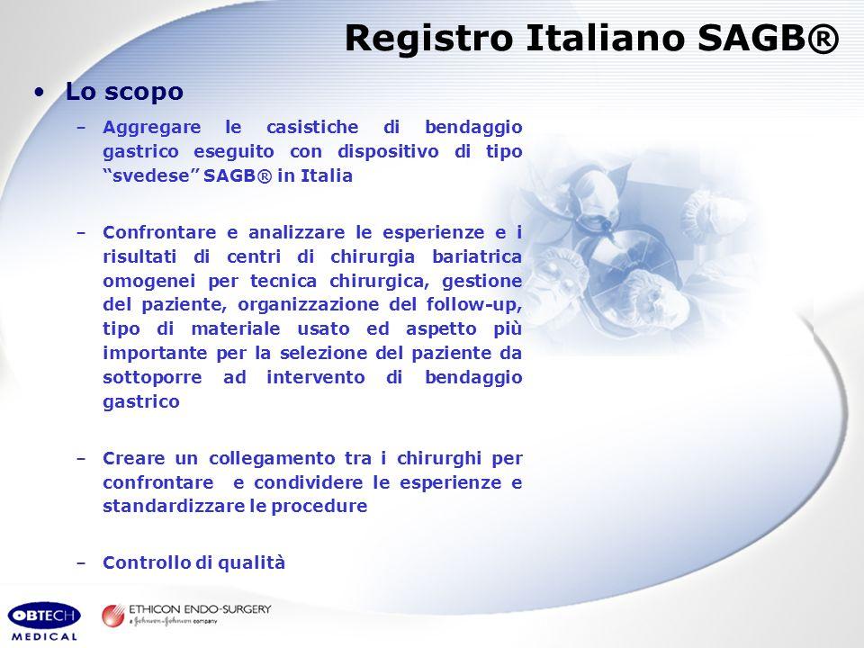 Lo scopo –Aggregare le casistiche di bendaggio gastrico eseguito con dispositivo di tipo svedese SAGB® in Italia –Confrontare e analizzare le esperien