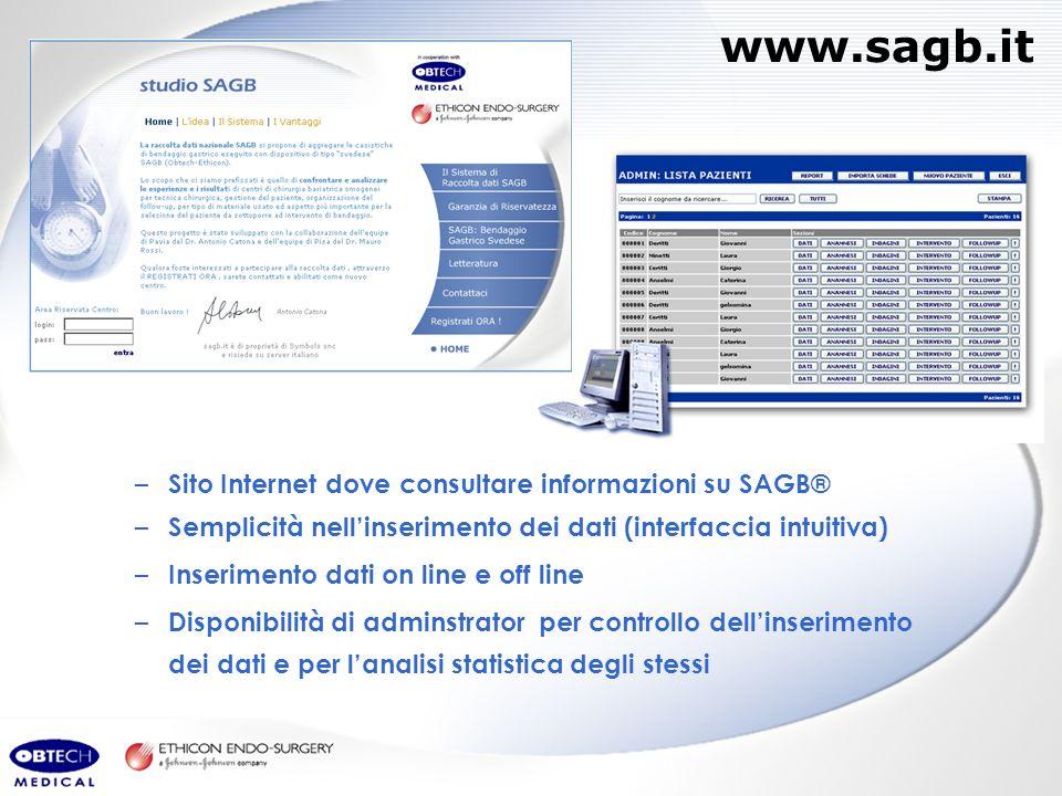 www.sagb.it – Sito Internet dove consultare informazioni su SAGB® – Semplicità nellinserimento dei dati (interfaccia intuitiva) – Inserimento dati on