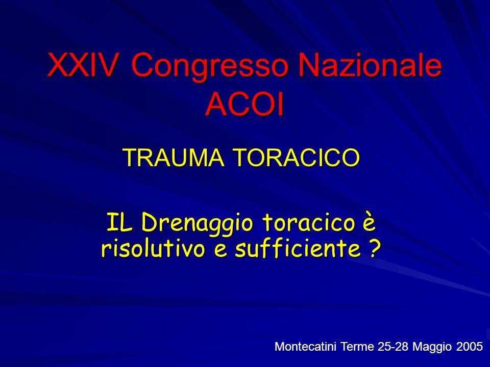 XXIV Congresso Nazionale ACOI TRAUMA TORACICO IL Drenaggio toracico è risolutivo e sufficiente ? Montecatini Terme 25-28 Maggio 2005