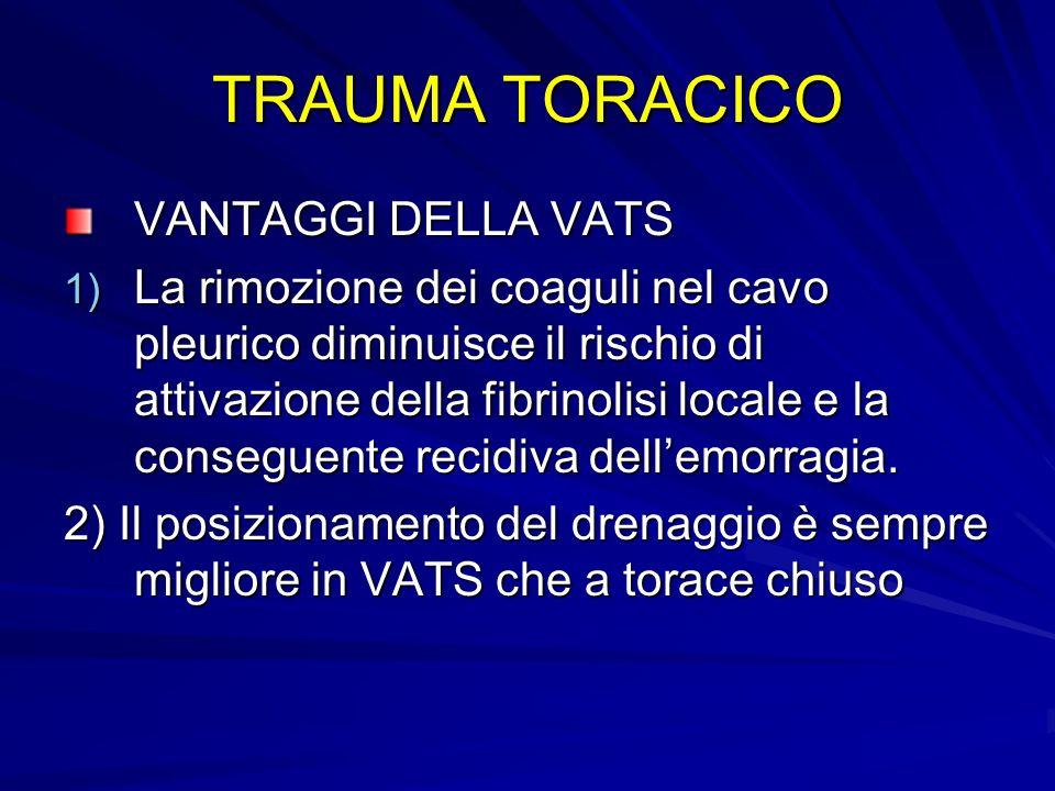 TRAUMA TORACICO VANTAGGI DELLA VATS 1) La rimozione dei coaguli nel cavo pleurico diminuisce il rischio di attivazione della fibrinolisi locale e la c