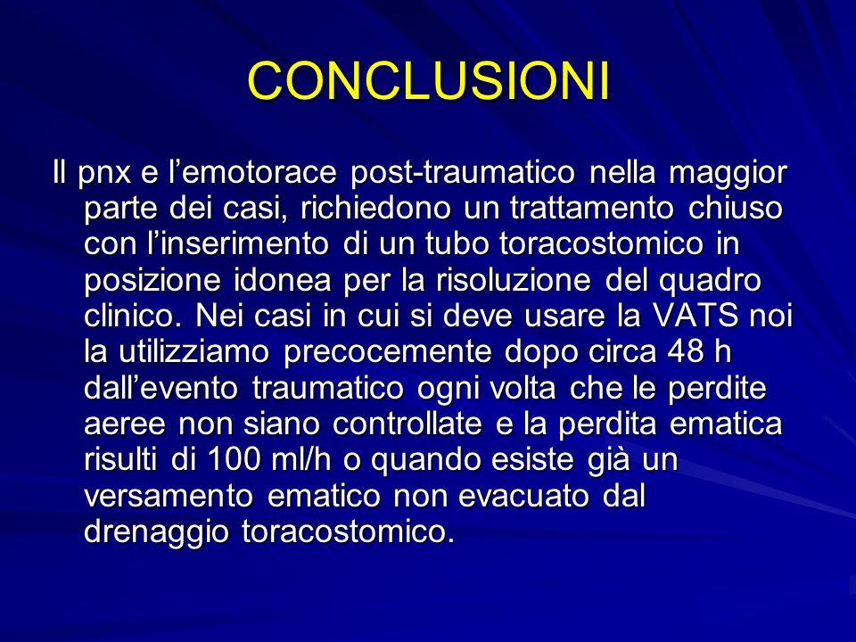 CONCLUSIONI Il pnx e lemotorace post-traumatico nella maggior parte dei casi, richiedono un trattamento chiuso con linserimento di un tubo toracostomi